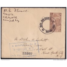 1928-FDC-22 CUBA REPUBLICA 1928 FDC 10c SEXTA CONFERENCIA PANAMERICANA REGISTERED COVER TO NEW YORK US .