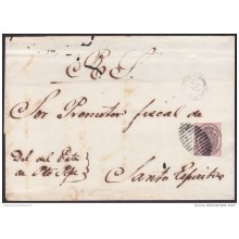 1858-H-138 CUBA SPAIN ESPAÑA. ISABEL II. 1858. OFFICIAL MAIL. 1 On COVER FANCY CANCEL PUERTO PRINCIPE. 1864.