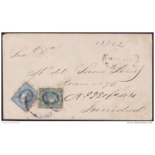 1866-H-24 CUBA SPAIN ESPAÑA. ISABEL II. 1864. REGISTERED COVER TO TRINIDAD.