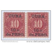 1899-109 CUBA US OCCUPATION. 1899. Ed.4. 10c POSTAGE DUE PAIR. LEVES MANCHAS