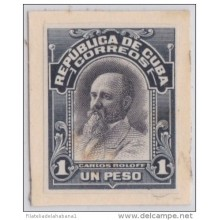 1910-81 CUBA. REPUBLICA. 1910. 1$ CARLOS ROLOFF. Ed.188. IMPERFORATED CARDBOARD PROOF. POLAND.