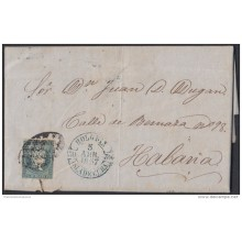1857-112 CUBA SPAIN ESPAÑA. ISABEL II. 1855. 1/2r COVER TO HABANA. BAEZA HOLGUIN GREEN.