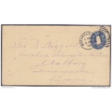 1899-EP-123 CUBA. 1899. US OCCUPATION. Ed.59. 5c. POSTAL STATIONERY. PAPEL CREMA. NAIFE 75. A DINARMARCA DENMARK.