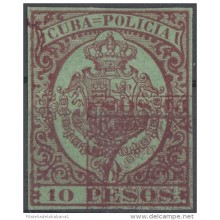 POL-21 CUBA SPAIN ESPAÑA REVENUE POLICE 10$ ERROR DOBLE IMPRESION 10 PESOS