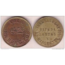 TK-308 CUBA TOKEN SUGAR MILLS. CENTRAL SAN CLAUDIO. 5c.