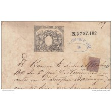 1884-UF-1 (LG224) CUBA SPAIN ESPAÑA. ALFONSO XII. 1884 2 1/2c REVENUE USE FOR SEALLED PAPER.