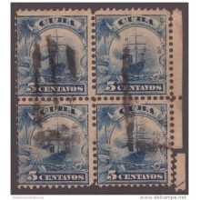 "1899-148 CUBA US OCCUPATION 1899. 5c Ed.33. RARA MARCA FANCY ""BANDERA"" BLOQUE DE 4."