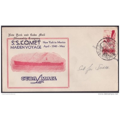 NA-71 CUBA LINE MAIL 1940. POSTAGE IN HIGHT SEA. MEXICO STAMPS. SS COMET MAIDEN VOYAGE.