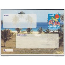 2000-EP-127 CUBA 2000. Ed.9. SOBRE CARTA. POSTAL STATIONERY. VARADERO BEACH. NORMAL SIZE.