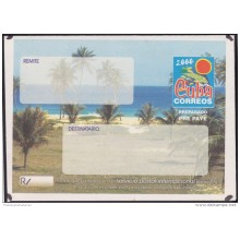 2000-EP-131 CUBA 2000. Ed.9. SOBRE CARTA. POSTAL STATIONERY. VARADERO BEACH. ERROR COVER. UNUSED.