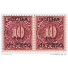 1899-161 CUBA US OCCUPATION. 1899. Ed.4 10c TASAS POR COBRAR. POSTAGE DUE. PAREJA GOMA ORIGINAL TONALIZADA.