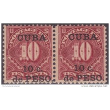 1899-167 CUBA US OCCUPATION. 1899. Ed.4 10c TASAS POR COBRAR. POSTAGE DUE. PAREJA GOMA ORIGINAL TONALIZADA.