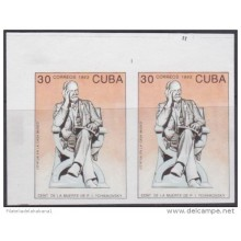 1993.110 CUBA 1993 PROOF IMPERFORATED MNH. CENTENARIO DE LA MUERTE PIOTR LLICH TCHAIKOVSKY. BALLET. NO GUM. PAIR 2.
