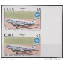 1994.142 CUBA 1994 PROOF IMPERFORATED MNH. 50 ANIV OACI. AVIONES. AIRPLANE. PAIR 2.