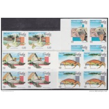 1994.156 CUBA 1994 PROOF IMPERFORATED MNH. FAUNA DEL CARIBE. AVES. BIRDS. TORTUGA. TURTLES. CRABS. COMPLETE SET. BLOCK 4
