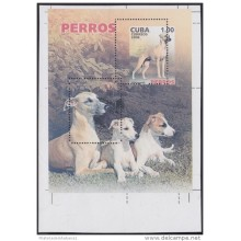 2006.376 CUBA 2006 MNH PERFORATION ERROR BLOCK. PERROS DOGS WHIPPET.