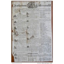 BP248 CUBA SPAIN NEWSPAPER ESPAÑA 1827 NOTICIOSO MERCANTIL 12/04/1827 22X34cm