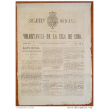 BP254 CUBA SPAIN NEWSPAPER ESPAÑA 1877 BOLETIN OFICIAL 09/09/1877 32X23cm