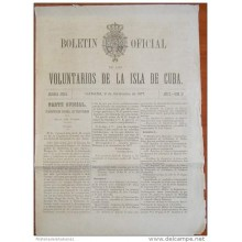 BP255 CUBA SPAIN NEWSPAPER ESPAÑA 1877 BOLETIN OFICIAL 09/09/1877 32X23cm