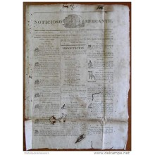 BP256 CUBA SPAIN NEWSPAPER ESPAÑA 1824 NOTICIOSO MERCANTIL 09/10/1824 39X28cm.