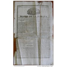BP257 CUBA SPAIN NEWSPAPER ESPAÑA 1833 DIARIO DE LA HABANA 09/12/1833 53X32cm.