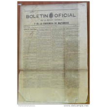 BP258 CUBA SPAIN NEWSPAPER ESPAÑA 1892 BOLETIN OFICIAL MATANZA 27/8/1892 46X32cm