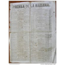 BP259 CUBA SPAIN NEWSPAPER ESPAÑA 1855 PRENSA DE LA HABANA 23/02/1855 46X32cm.