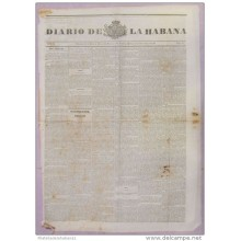 BP262 CUBA SPAIN NEWSPAPER ESPAÑA 1845 DIARIO DE LA HABANA 16.03.1845 57X42cm