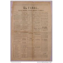 BP266 CUBA SPAIN NEWSPAPER ESPAÑA 1880 EL FANAL 26.11.1880 55X38cm