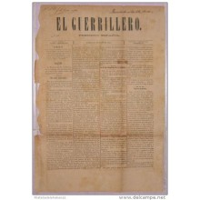BP267 CUBA SPAIN NEWSPAPER ESPAÑA 1884 EL GUERRILLERO 29.05.1884 46X32cm