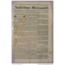 BP271 CUBA SPAIN NEWSPAPER ESPAÑA 1830 NOTICIOSO MERCANTIL 16.03.1830 37X24cm