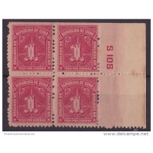 1927-26 CUBA. REPUBLICA. 1927. Ed.8. 1c. POSTAGE DUE. TASA POR COBRAR. PLATE NUMBER. ORIGINAL GUM BLOCK 4