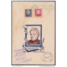 1954-FDC-38 (LG-272) CUBA 1954 FDC SPECIAL CARD MARIA LUISA DOLZ. 13x19 cm.