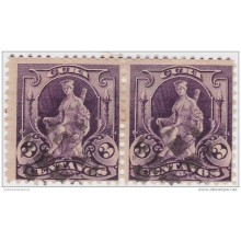 1899-225 CUBA. US OCCUPATION. 1899. Ed.32. 3c. INDIA SOURCE FANCY CANCEL PAIR.