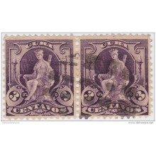 1899-226 CUBA. US OCCUPATION. 1899. Ed.32. 3c. INDIA SOURCE FANCY CANCEL PAIR.