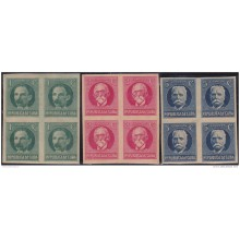 1926-10 CUBA. REPUBLICA. 1926. PATRIOT. 1-5c. IMPERFORATED SET BLOCK 4. ORIGINAL GUM.