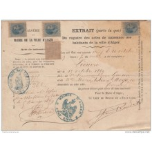 1884-UF-13 CUBA SPAIN REVENUE USE (LG-540). 10c. ALFONSO XII. 1884. BIRTH ACT IN FRANCE LEGALIZED.
