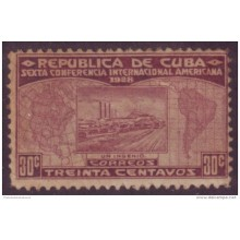1928-40 CUBA. REPUBLICA. 1928. Ed.230. SEXTA CONFERENCIA. CENTRAL AZUCARERO. SUGAR FACTORY 30c MNH