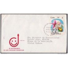 1981-FDC-17 CUBA. 1981. REGISTERED FDC XX ANIV CIRCULOS INFANTILES. BABYCARE.