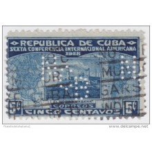 "1928-85 CUBA REPUBLICA. 1928. Ed.225. 5c. PERFINS ""NCB"" NATIONAL CITY BANK OF NEW YORK."