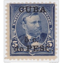 "1899-251 CUBA US OCCUPATION 1899.Ed.263. 5c GRANT ERROR ""O"" BROOKEN. NO GUM."