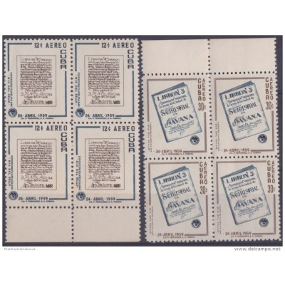 1959.59 CUBA 1959. POSTAL HISTORY BOOK LIBRONES. PLATE NUMBER. LIGERAS MANCHAS. BLOCK 4. STAMPS DAY.