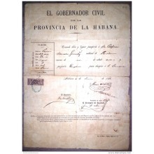 E928 SPAIN ESPAÑA CUBA OBSOLETE PASSP TO SPAIN 1886 REVENUE GIROS STAMP