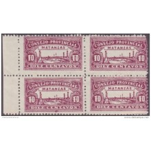 REP-102 CUBA REPUBLICA REVENUE. MATANZAS LOCAL STAMP. 10c BLOCK 4 PERFORATED.