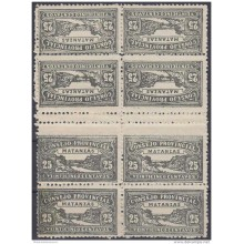 REP-117 CUBA REPUBLICA REVENUE. MATANZAS LOCAL STAMP. TETE BECHE 25c BLOCK 8 PERFORATED.