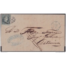 1855-H-118 CUBA SPAIN ESPAÑA. ISABEL II. 1855. 1/2r NORIEGA Y OLMO FORWARDING AGENT. 1857. TO SUGAR MILL GABRIELA.