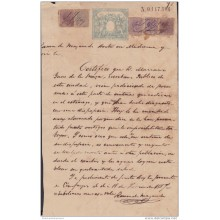 1884-UF-6 CUBA SPAIN ESPAÑA (LG-658) 1884. 2 1/2c + 5c. REVENUE PAPER WITH POSTAGE STAMPS.
