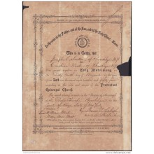 E4277 US MARRIAGE ACT CERTIFICATE. PROTESTANT EPISCOPAL CHURCH NEW YORK. 1854.