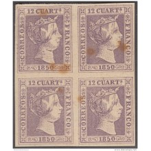 FAC-10 ESPAÑA SPAIN. SEGUI OLD FACSIMILE REPRODUCTION. ISABEL II. 1850 12 &frac14 . BLOCK 4.