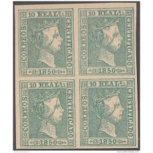 FAC-12 ESPAÑA SPAIN. SEGUI OLD FACSIMILE REPRODUCTION. ISABEL II. 1850 10r. BLOCK 4.